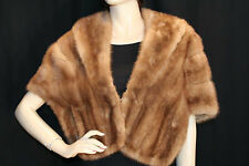S~M HONEY GOLD VTG 50s SHAWL COLLAR MINK FUR POCKET CAPE STOLE WRAP COAT SHRUG