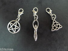 3 x Clip On Wiccan Bracelet Charms pentacle goddess triquetra pagan silver set