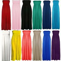 Womens Plus Size Sheering Boobtube Bandeau Long Jersey Strapless Maxi Dress 8 26
