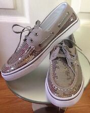Sperry Top Sider Women's Pewter Gray Silver Bahama Boat Shoes Loafers Sz 5 NWOB