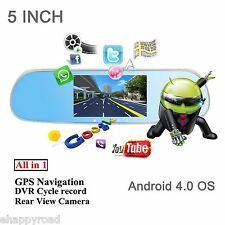 "5"" Android HD 1080P WIFI Car GPS Nav Rear View Mirror DVR Dash & Reverse Camera"