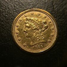 1866 S Liberty Head $2.5 Gold Quarter Eagle AU About Uncirculated $2 1/2 Dollar