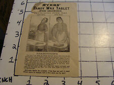 Vintage advertisment: MYERS HAND WAX TABLET FOR IRONING, C. E. Schubert & Co.