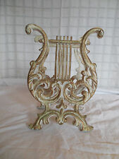 Vintage case metal musical lyrc harp magazine rack hollywood regency*