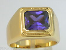 11 X 9 mm Solitaire February Purple Amethyst CZ Birthstone Men Ring Size 8
