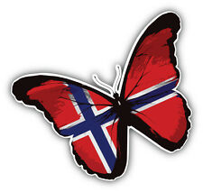 Norway Butterfly Flag Car Bumper Sticker Decal 5'' x 5''