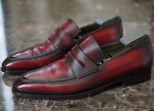 BERLUTI HAND BURNISHED ANDY PENNY LOAFER UK 9 RED BURGUNDY BLACK LASTED TREES