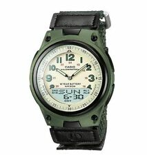 Casio Men's Combo Data Bank Watch, Green Nylon Strap, 3 Alarms, AW80V-3BV