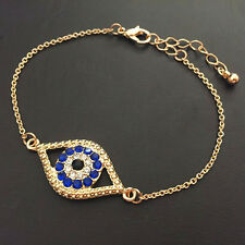 Elegant blue rhinestone evil eye bracelet birthday gift arabic turkish jewelry