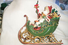 SANTA CLAUS IN SLEIGH WITH CHILD AND TOYS INTRICATE ABOUT 10 1/2 BY 10""