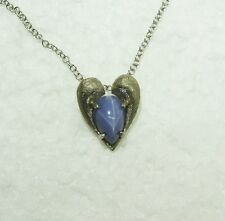 14K WHITE GOLD LINDY STAR SAPPHIRE PENDANT/14 1/2'' CHAIN NECKLACE NG6-F