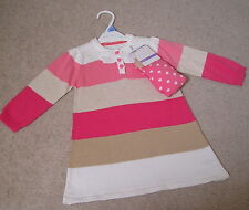 100% cotton girls outfit: pink stripey DRESS + TIGHTS BNWT Age 12-18 months