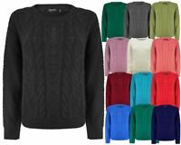 LADIES WOMEN KNITTED CREW NECK LONG SLEEVE CABLE KNIT JUMPER SWEATER TOP UK 8-14