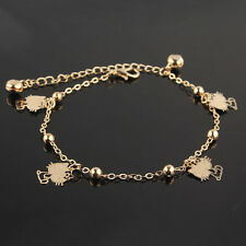 New Womens 14k Gold Filled Cat Bell Chain Ankle Bracelet Bangle Jewelry JD1637