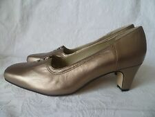 EQUITY GOLD-BROWN-TAN LEATHER LOW-MEDIUM HEEL COURT SHOES,UK5.5-EU38.5,BRAND NEW