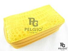 PELGIO Genuine Crocodile Skin Leather Key Holder Wallet Zip Coins Purse Yellow