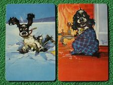 Butch Cocker Spaniel Dog on Thin Ice Albert Staehle Art Playing Cards Vintage A+