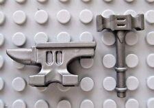 Custom BLACKSMITH Hammer & Anvil For Lego Minifigures Castle LOTR -Steel-