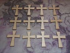 Wood Crosses Unfinished Wooden Shapes 12pcs #C02-019 Artistic Craft Supply