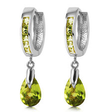 3.9 Carat 14K Solid White Gold Huggie Earrings Dangling Peridot