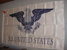 SS UNITED STATES LINES  Silk Maritime Office Flag  /  3 ft. x 5 ft. /  Top Cond.