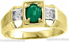 Mens Genuine Diamond & Emerald Sterling Silver or Gold Plated Silver