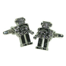 Silver Robot Cufflinks With Gift Pouch Sci-Fi Retro Square Fantasy Science New