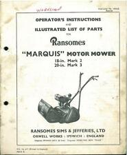 "RANSOMES MARQUIS 18"" MK2 20"" MK3 MOTOR MOWER OPERATORS MANUAL & PARTS LIST"