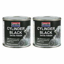 2 x Granville Cylinder Black Heat Resistant High Temp Exhaust Engine Paint 250ml