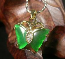 Gold Plate CHINESE Green JADE Pendant Butterfly Necklace 260243