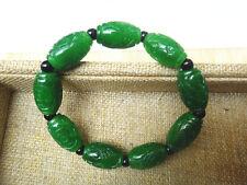 natural green Jade carved bead bracelet