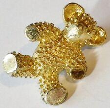 broche bijou rétro nounours en relief couleur or finement travaillé 934