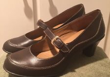 Softshoe by Medicus Brenda Brown Leather Strap Pump Womens Size 11M