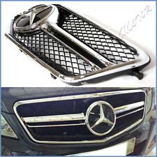 Fit 10-13 W212 Benz E350 E550 E63 AMG Look Gloss Black Front Grille w/ Distronic