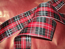 Wired Christmas Ribbon Red Silver Tartan, Cakes Decorations, Wreaths, Bows