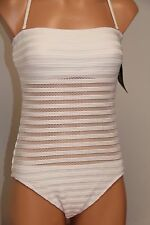 NWT Ralph Lauren Swimsuit 1 one piece Size 10 White Crochet Strap Bandeau