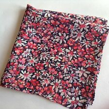 Red daisies Liberty of London silk pocket square