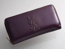 G7117 Authentic Yves Saint Laurent Patent Leather Zip-Around Long Wallet