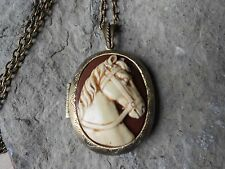HORSE CAMEO LOCKET (hand painted) -ANTIQUE BRONZE, VINTAGE LOOK, EQUINE