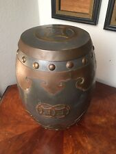 Rare Vintage Pewter and Brass Chinese Garden Stool Box table with Lid Hong Kong