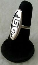 Hopi Silver Water Wave Overlay Ring Sz 5.5 Collectable Stamped Native American