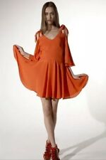 BARBARA HULANICKI Topshop Coral Vtg 60s Angel Sleeve Mini Skater Tea Dress 10 6