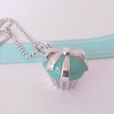 "Tiffany & Co Silver Blue Enamel Cupcake Pendant Charm 18"" Bead Chain Necklace"