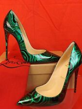 NIB LOUBOUTIN SO KATE 120 GREEN MALACHITE PATENT LEATHER CLASSIC PUMPS 40