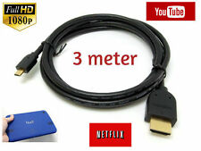 3 Metro Tesco Hudl 2 Tablet Micro HDMI a HDMI TV Cable para Netflix, Youtube, Film