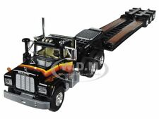 MACK R WITH TRI-AXLE LOWBOY TRAILER BLACK 1/64 BY FIRST GEAR 60-0270