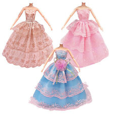 3Pcs Fashion Handmade Dolls Clothes Wedding Party Dresses For Barbie Dolls