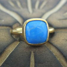 Handmade Turkish Round Band Square Turquoise Ring 24K Gold Over Sterling Silver