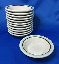 Shenango China RimRol WelRoc Dessert Bowl 12pc Aqua Blue & Brown Restaurant Ware