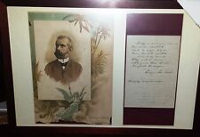 Enrique Jose Varona SIGNED letter 1877 FRAMED Cuban writer philosopher vice prez